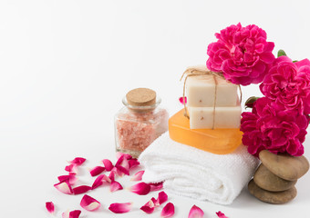 Spa concept with coconut soap,zen stone,himalayan salz and beaut