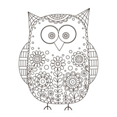 Cute vector owl with hand drawn floral ornament. Nice cartoon bird with doodle flowers, bubbles and curls. Isolated. Coloring page for children and adult. Outline.