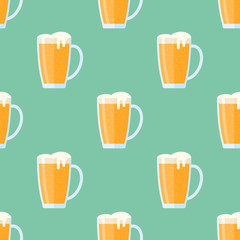 Seamless pattern with beer mug on green background. Vector texture.