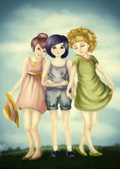 three girls outdoors,digital painting