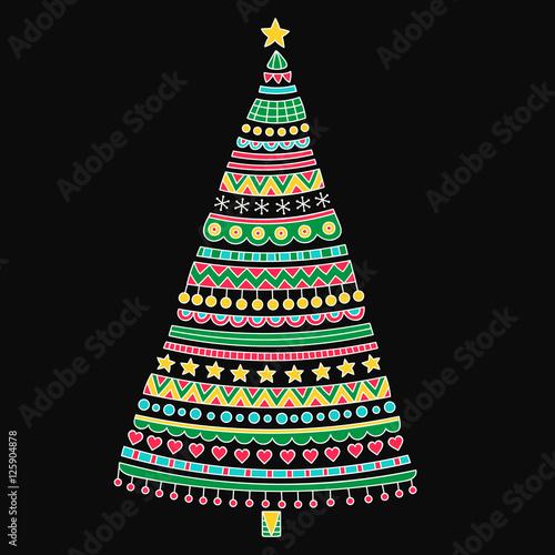 Colorful Christmas Tree Vector.Christmas Tree Vector Hand Drawn Christmas Tree With Doodle