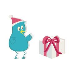 Blue bird in Santa hat and present. Vector illustration.