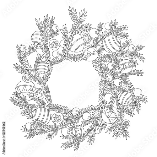 fir branch christmas wreath coloring page for adults in zentangle style