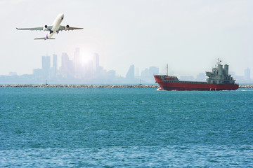 International Container Cargo ship and airplane in the ocean, Freight Transportation, Shipping, Nautical Vessel
