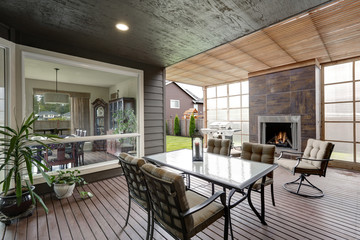 Covered patio area in luxurious house
