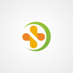 healthy nutrition with cross logo icon