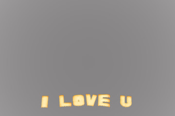 I love you words created from cookies, Background words, Letters