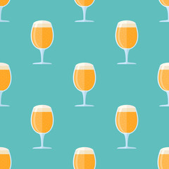 Seamless pattern with beer goblet on blue background. Vector texture.