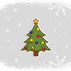 Happy New Year and Merry Christmas. Christmas tree on the background of snow. Holiday sticker