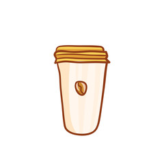 Paper cup of coffee, sketchy clip-art. Vector design element for coffee house ad, package, poster. Hand drawn paper cup with bean, isolated on white