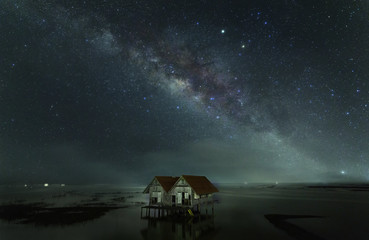 Milky Way two house at Night,Talenoi Thailand