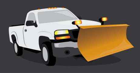 White pick up truck with snow plow