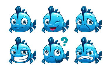 Funny cartoon blue fish