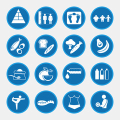 Icon set of obesity related diseases and prevention, blue circle buttons