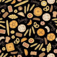 Pattern with hand drawn colored bakery products on black color. Pattern on the theme of food