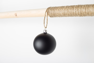 Christmas / New Year set with christmas ball hanging on wooden s