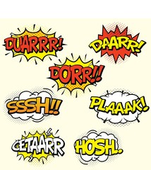 Comic sound effects set isolated in cartoon vector style. Sound bubble speech with word and comic cartoon expression sounds illustration
