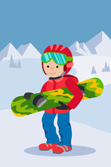 Kid child boy with snowboard winter sport jacket hat clothing snow vector graphic isolated and flat illustration