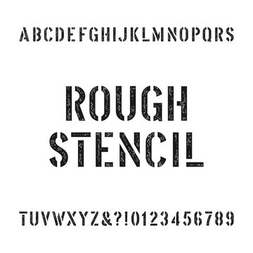 Rough stencil alphabet font. Scratched type letters and numbers. Retro stock vector typography for your design.