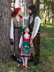 Bulgarian family in traditional costume