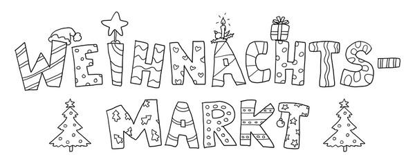 Ausmalbild Weihnachtsmarkt Schrift