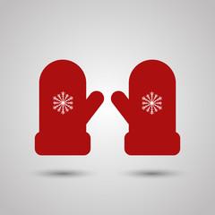 Зимние варежки пара перчатки плоский символ силуэт flat mittens красные с рисунком снежинка