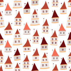Funny vector seamless pattern with cute houses
