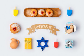 Hanukkah holiday food and objects for mock up template design.View from above. Flat lay