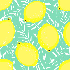Yellow lemons and green palm leaves seamless decorative background. Tropical leaves pattern with lemons. Trendy Jungle illustration. Fashion design for textile, wallpaper, fabric etc.