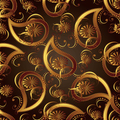 Paisley seamless pattern.Vector floral vintage seamless pattern with 3d gold paisleys flowers leaves and ornaments. Gold paisley