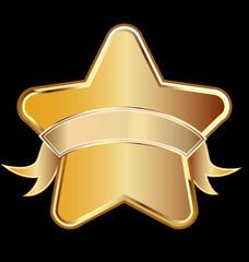 Gold star award with ribbon christmas symbol