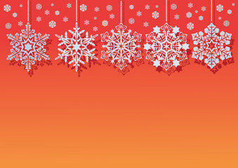 White snowflakes on an abstract red background - vector