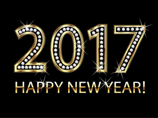 2017 Happy new year gold vector design