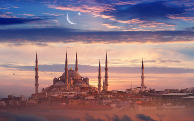 Ramadan background with new moon, star and mosque