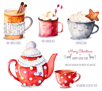 Merry Christmas and Happy New Year set. Watercolor collection with a choice of hot drinks:apple cider,tea,chocolate,cappuccino.Handpainted watercolor clipart.What hot drink do you prefer this winter?