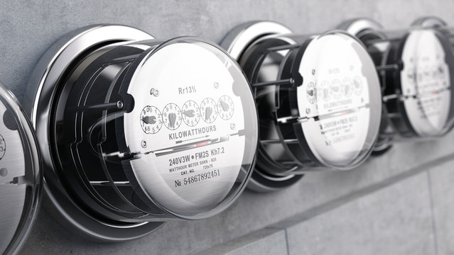 Kilowatt hour electric meters, power supply meters. 3d rendering