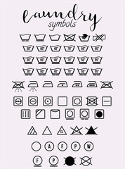 Laundry symbols and icons set vector