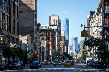 Foto auf AluDibond New York TAXI New York City Taxi Streets USA Big Apple Skyline 3