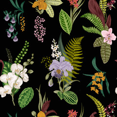 Vector seamless vintage floral pattern. Exotic orchid and leaf. Botanical classic illustration. Vivid color