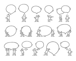 Speech bubbles icons set with little people.