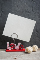 Photo holder with word Love
