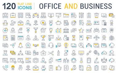 Set Vector Flat Line Icons Office and Business Fototapete