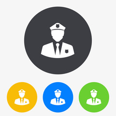 Icono plano silueta policia en circulo varios colores