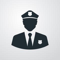 Icono plano silueta policia en fondo degradado