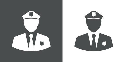 Icono plano silueta policia gris