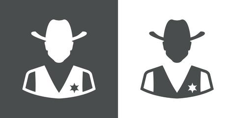 Icono plano silueta sheriff gris