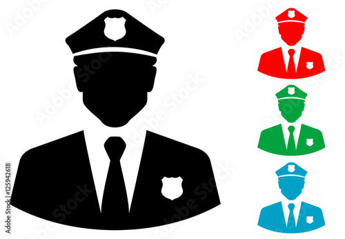 """Icono Plano Silueta Policia Varios Colores"" Stock Image"