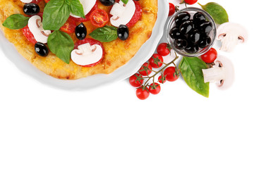 Tasty pizza with mushrooms, branch of cherry tomatoes and olives on white background
