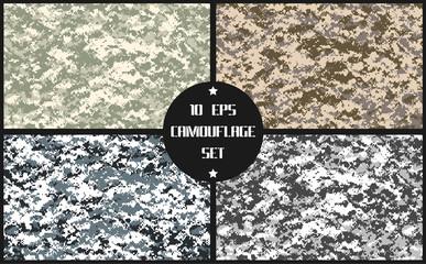 vector pixel camouflage set