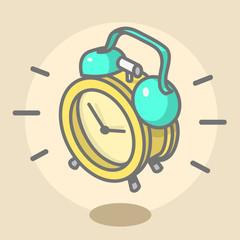 Alarm Clock Ringing And Jumping. Cartoon Illustration. Line Art